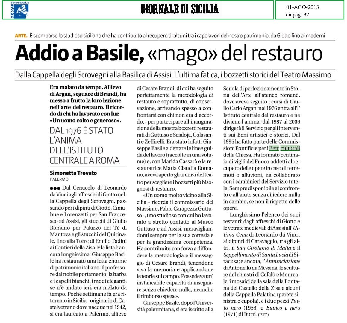 Il Giornale di Sicilia 2013 08 01 Basile 1